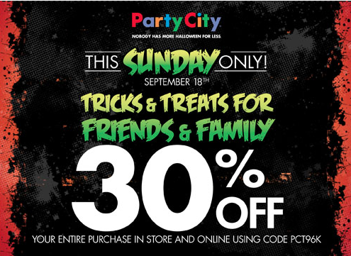 3. Party City provides exclusive discounts to organizations and schools. 4. If you shop online, use Party City promo codes to save. The entry field is located on the shopping basket page. Note that a single coupon can be redeemed on each order.