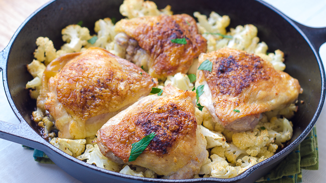Chicken-Thighs-Cauliflower-Skillet